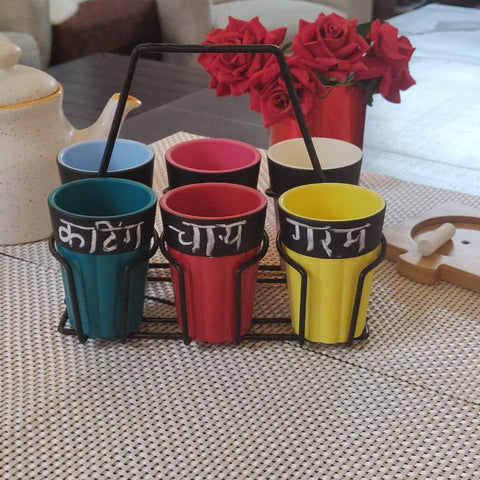 Unbreakable Cutting Chai Cups Stand - Set of 6 - Chalkboard Mulicolor