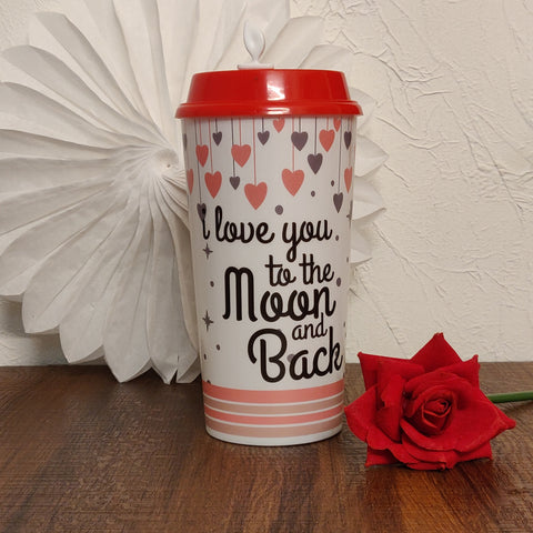 To the Moon & Back, Coffee Cup & Sipper, Valentines Day Gift, 1 tumbler with 2 lids