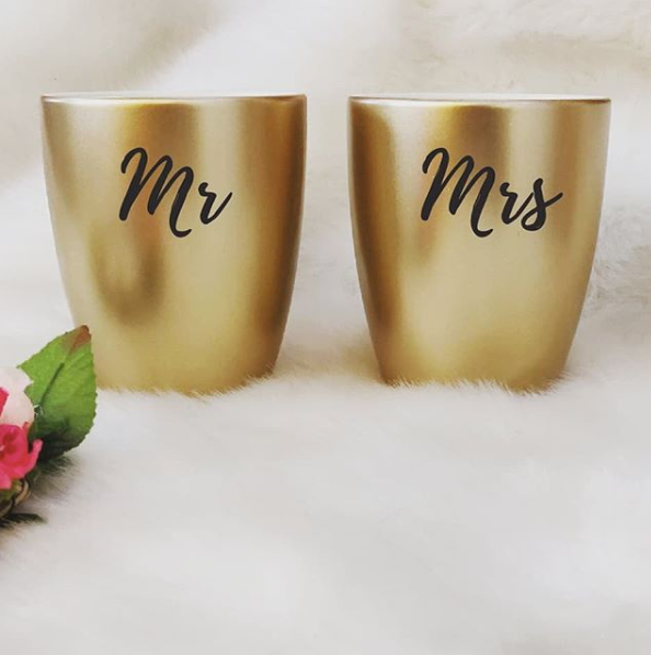 Unbreakable Couple Mugs - Set of 2 - Mr & Mrs - Gold