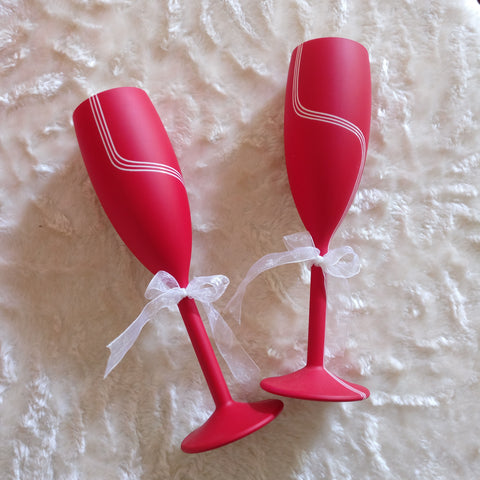 Love Red Unbreakable Champagne Flutes, set of 2