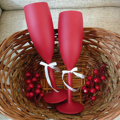 Non breakable red champagne glass gift set (Set of 2 - 170 ml each) - gift for loved ones