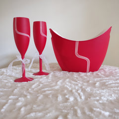 Love Red Unbreakable Champagne Flutes, set of 2 with Chilling Bucket