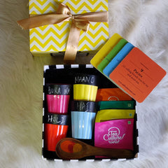 Holi gifts, Holi gift boxes, cutting chai glasses, colourful cups