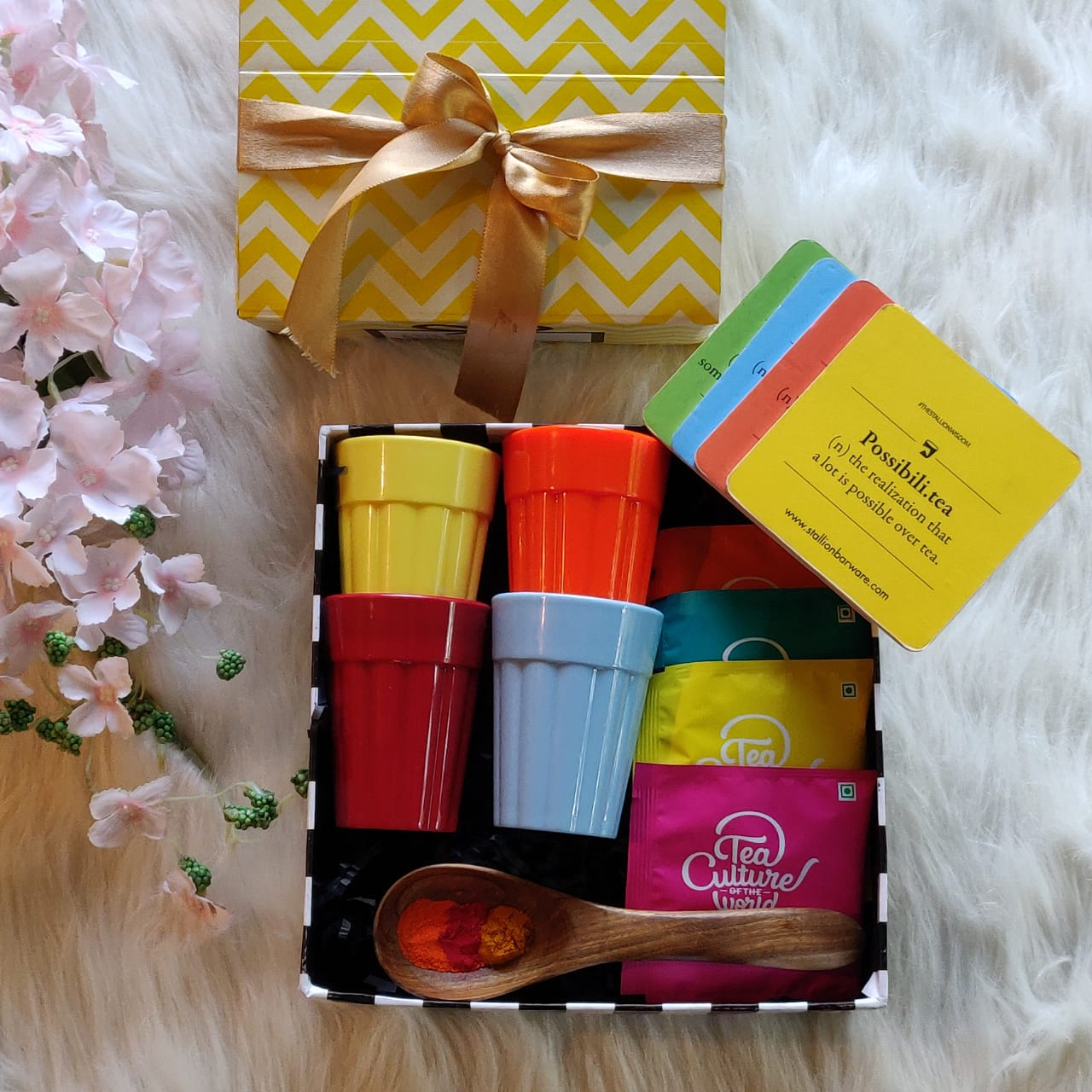 Holi gifts, Holi Gift Boxes, Unbreakable cutting chai glasses, Colourful cups