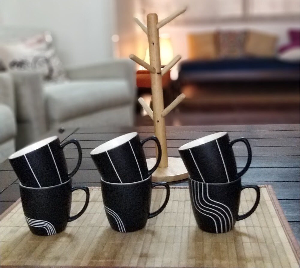 CU4T - See You for Tea - Tea Cups - Black & White Stripes Collection - Pack of 6