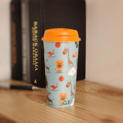 Designer Cup by Chirpy Cups with coffee & sipper lids, Food Safe, BPA Free and Recyclable - Baby Animals