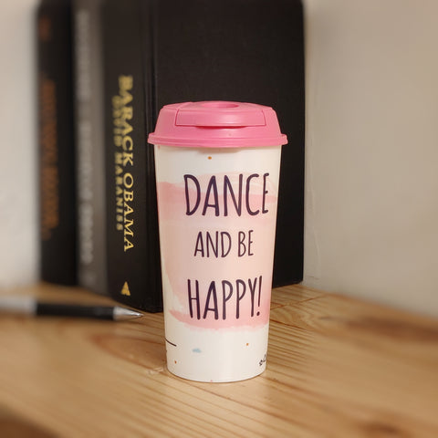 Designer Cup by Chirpy Cups with coffee & sipper lids, Food Safe, BPA Free, Recyclable - Dance & Be Happy