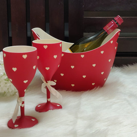 Non Breakable Wine Glass Gift Set with Chilling Bucket - Red
