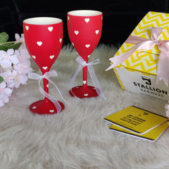 Non Breakable Wine Glass Gift Set - Red