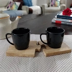 Tea Cups Unbreakable with Wooden Saucers- Studio Black - 150 ml, Set of 2.