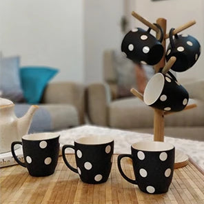 Unbreakable black and white designer tea cups with polka dot design (Set of 6) - Black & White Collection