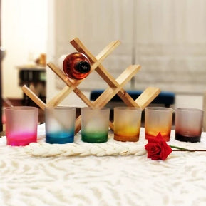 Unbreakable Whiskey Glasses - 350 ml - Frosted Rainbow, Set of 6.