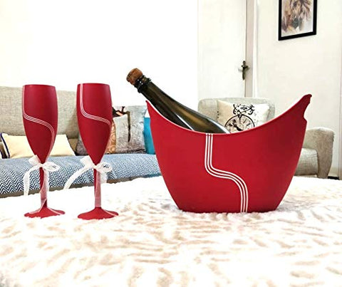 Non Breakable Champagne Glass Gift Set with Chilling Bucket - Love Red