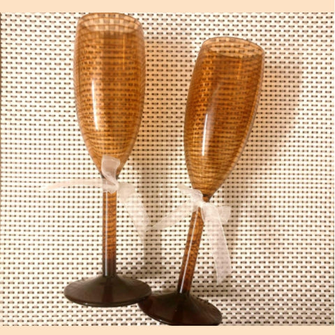 Ceramic Finish Champagne Flutes Unbreakable (170 ml) -Set of 2