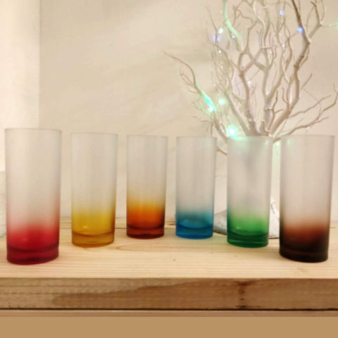 Unbreakable Food-Safe Plastic Highball Glasses (330 ml, Frosted Rainbow Multicolour) -Set of 6