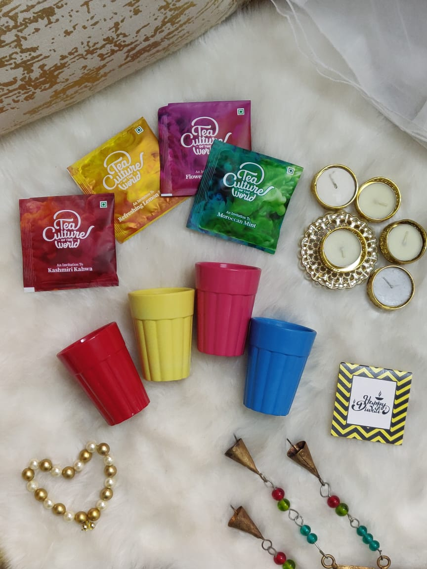 """Colorful Cutting Chai Set"" Diwali Hamper"