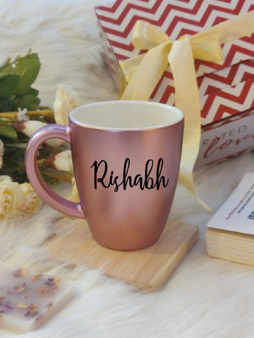 Unbreakable Metallic Mug with Customisable Name - Set of 1