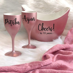 CHEERS TO THE YEARS, Non Breakable Wine Glass Gift Set With Chilling Bucket - Rose Gold