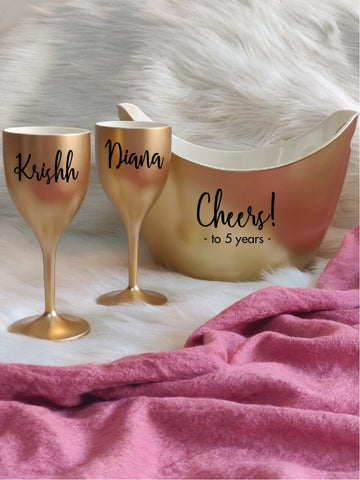 CHEERS TO THE YEARS, Non Breakable Wine Glass Gift Set With Chilling Bucket - Gold