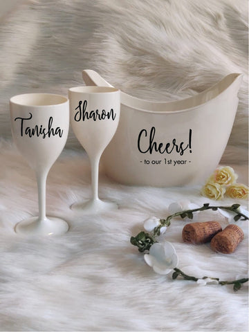 CHEERS TO THE YEARS, Non Breakable Wine Glass Gift Set With Chilling Bucket -White
