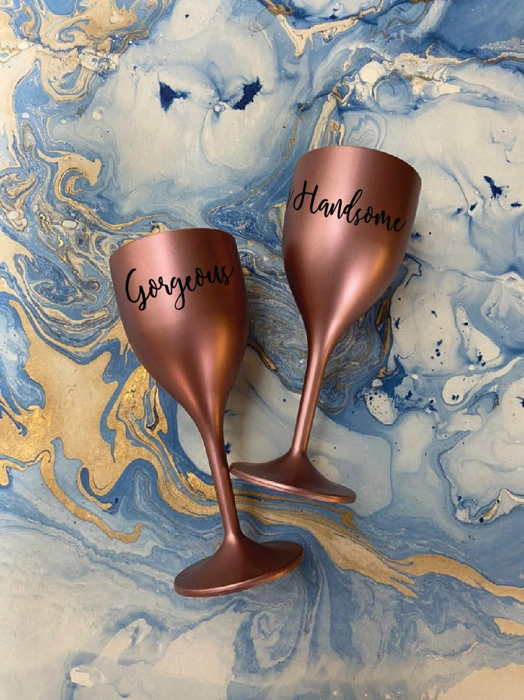 Non Breakable Couple Wine Glass Gift Set - Handsome & Gorgeous Wine Glasses - Set of 2 - Rose Gold