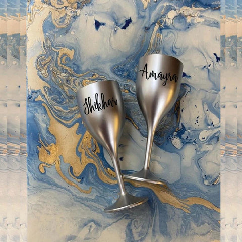Unbreakable Wine Glass with Customisable Name - Set of 2  Silver