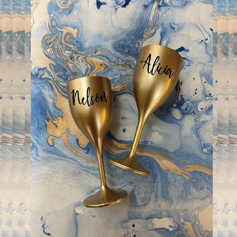 Unbreakable Wine Glass with Customisable Name - Set of 2 Gold