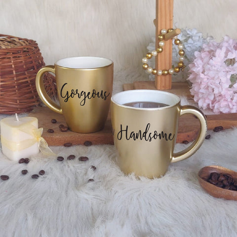 Unbreakable Couple Mugs - Gorgeous and Handsome - Set of 2 - Gold