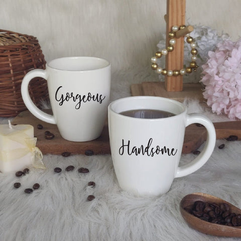 Unbreakable Couple Mugs - Gorgeous and Handsome - Set of 2 - White