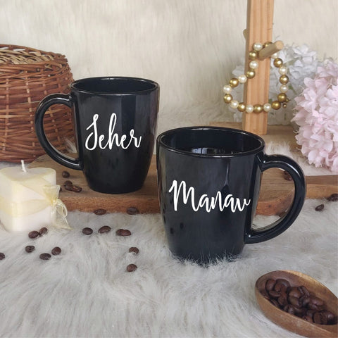Unbreakable Mug with Customisable Name - Set of 2 Black