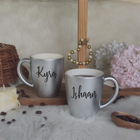 Unbreakable Mug with Customisable Name - Set of 2 Silver