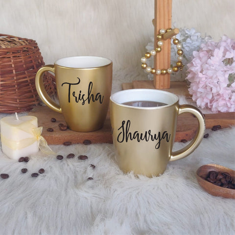 Unbreakable Mug with Customisable Name - Set of 2 Gold