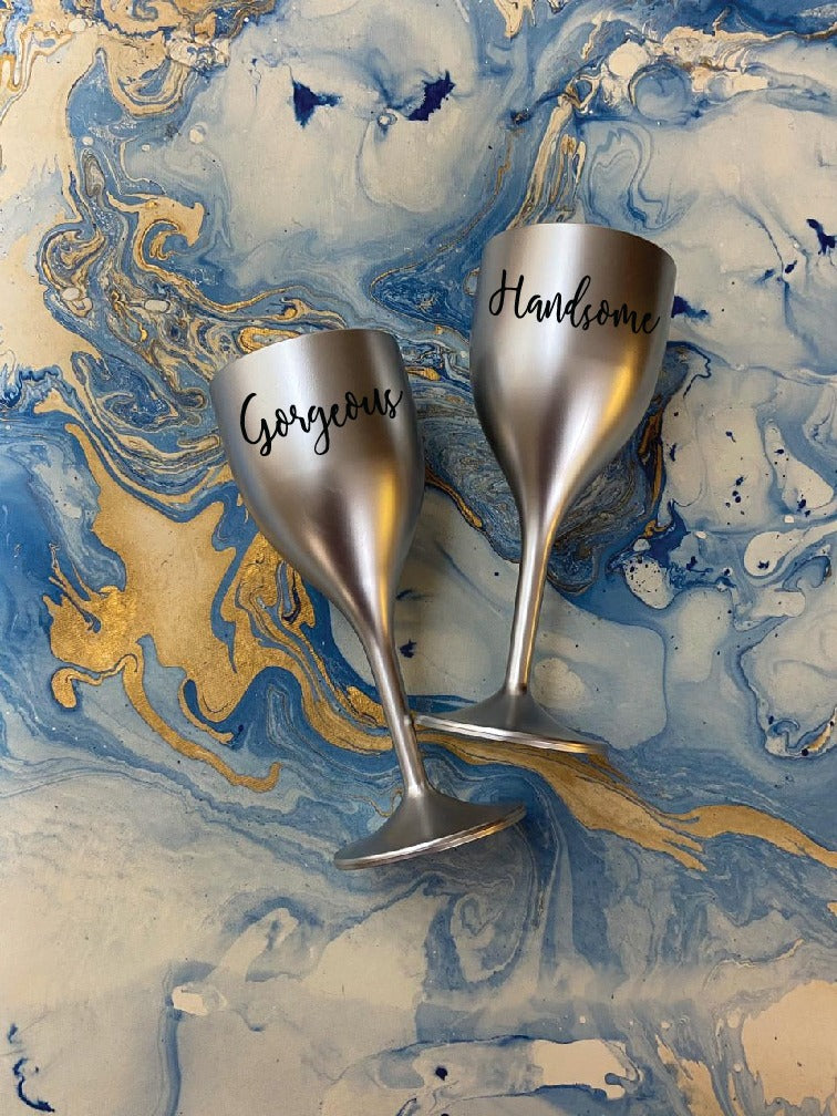 Non Breakable Couple Wine Glass Gift Set - Handsome & Gorgeous Wine Glasses - Set of 2 - silver