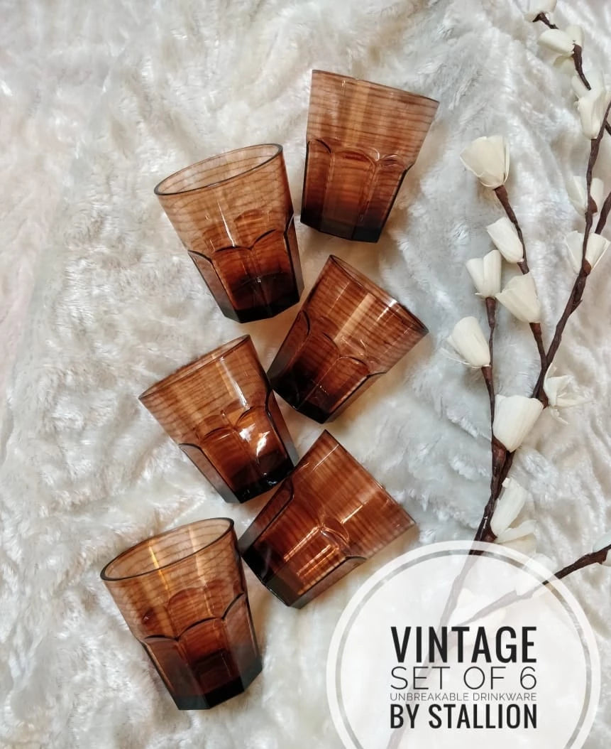 Vintage Water Glasses Unbreakable - Ceramic Finish - 300 ml, Set of 6, Vintage by Stallion