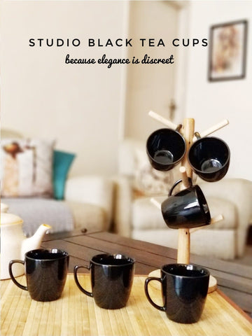 Unbreakable studio black tea cups (Set of 6)