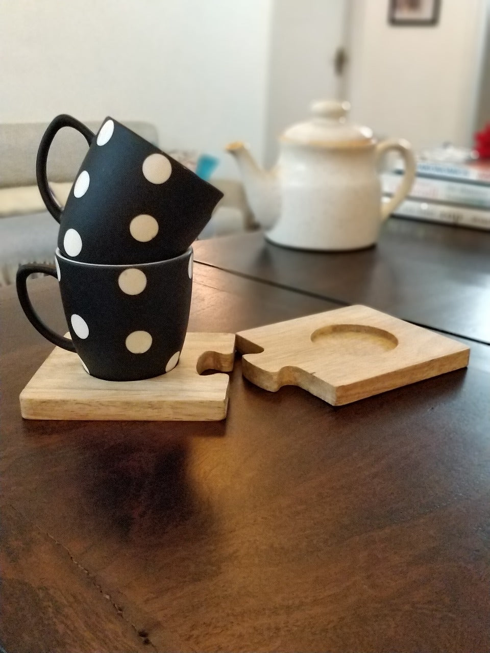 Unbreakable black and white tea cups with polka dot design (Set of 2) along with wooden coasters