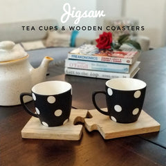 Tea Cups Unbreakable with Wooden Saucers- Black and White - 150 ml, Set of 2.