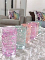 Unbreakable Welcome Drink glasses - Neon Multicolour - 200 ml, Set of 6.