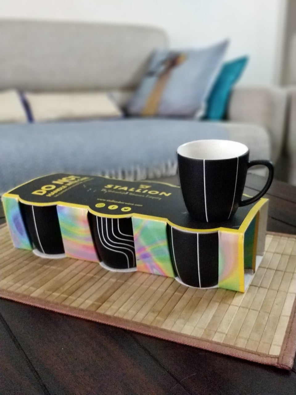 Unbreakable black and white designer tea cups (Set of 6) - The Black & White Collection