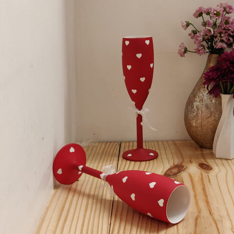 Non breakable red champagne glass gift set (Set of 2 - 170 ml each) - Valentines Day gifts ,Wedding & Anniversary gifts