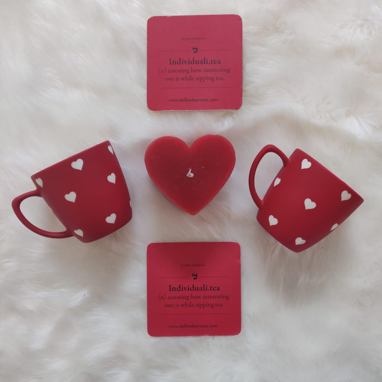 Truly Madly Deeply Unbreakable Tea Cups, set of 2 with Individuali.tea coasters