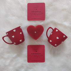 Unbreakable red designer tea cups with heart pattern (Set of 2) - Valentine's gift