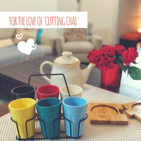 Unbreakable solid multicolor cutting chai cups with black stand (Set of 6)