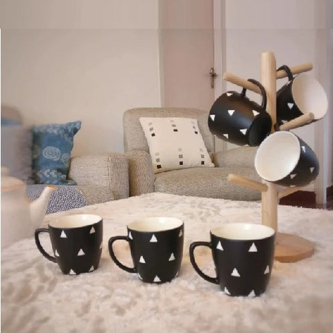 CU4T - See You for Tea - Tea Cups - Black & White Egyptian Pyramid - Pack of 6