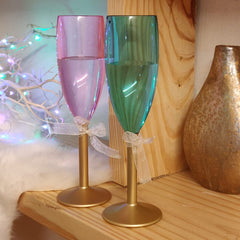 Non breakable His & Her champagne glass gift set (blue and pink - 170 ml each) - gifts for couples