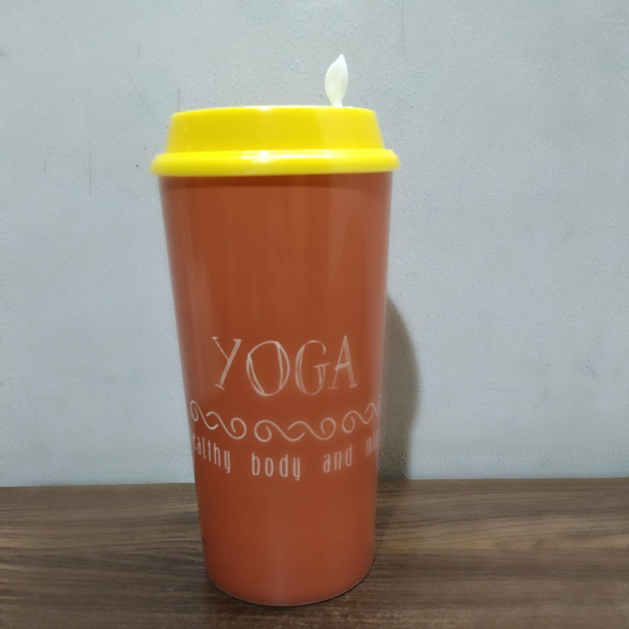 Designer Cup by Chirpy Cups with coffee & sipper lids, Food Safe, BPA Free, Recyclable - Yoga
