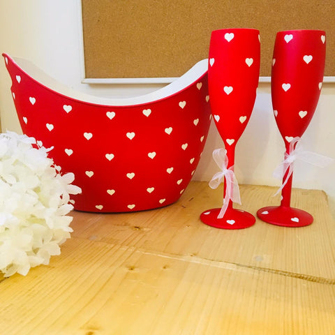 Non breakable red champagne glass gift set (Set of 2 - 170 ml each) with chilling bucket - Valentines Day gifts , Wedding & Anniversary gifts