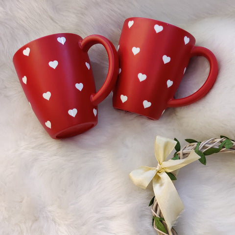 Unbreakable red couple mugs with heart pattern (Set of 2)