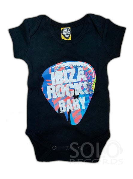 ibiza rocks baby grow body black rainbow