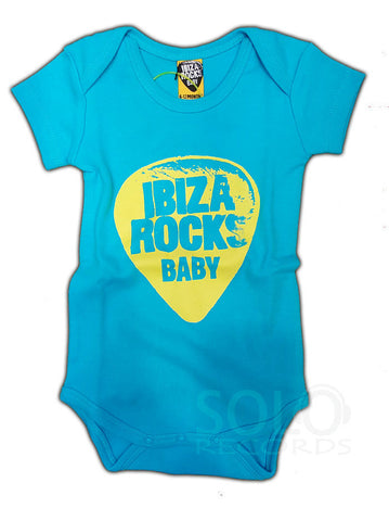 ibiza rocks baby grow body blue yellow